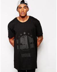 a572d6f7e Men s Black Longline T-shirt With Tonal Print