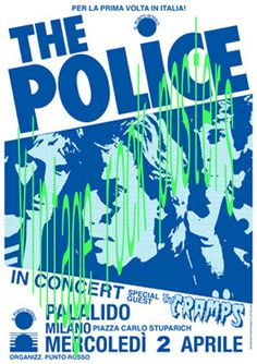 police concert posters | POLICE - CRAMPS - 2 April 1980 Milano Italy - retro artistic concert ...