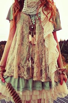 MODE THE WORLD: Bohemian Style Ladies Frock with Crochet Scarf