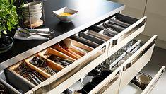 Small IKEA Kitchen Storage in Open Kitchen Design — Renacci for Home Kitchen Drawer Organization, Diy Kitchen Storage, Kitchen Drawers, Ikea Kitchen, Kitchen Cabinets, Organization Ideas, Drawer Storage, Kitchen Organizers, Kitchen Ideas