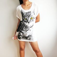 Kitty Cat Shirt Cute Cats TShirt Women White T by PunkRockTshirt, $15.00