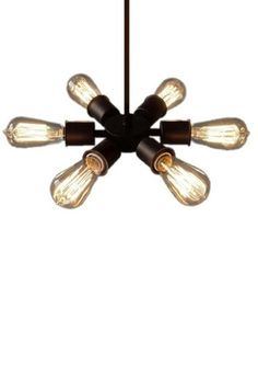 This industrial style pendant light creates a circle of 6 bulbs Measures 17 inches in diameter as shown with edison bulbs installed Black wire is 4 FT Long and includes matching black ceiling plate wi Rustic Pendant Lighting, Industrial Ceiling Lights, Unique Lighting, Light Pendant, Ceiling Chandelier, Ceiling Fixtures, Chandeliers, Jouer Au Poker, Circle Light