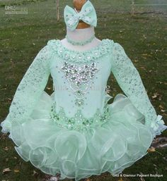 2013 New Arrival Green Organza Little Girls Pageant Cupcake Dresses Lace Sleeve Glitz Dresses GD32