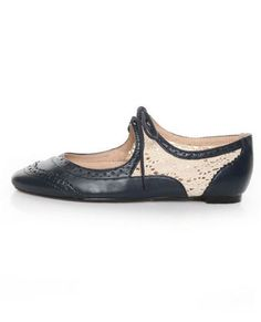 Restricted Suzie Navy Crocheted Spectator Flats