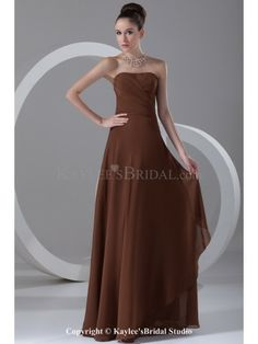 Chiffon Strapless Neckline Floor Length Column Prom Dress