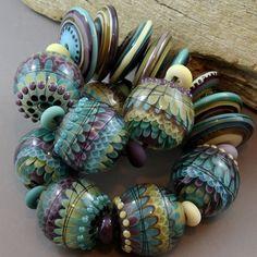 Magma Beads ~Hydrangea~ Handmade Lampwork Beads. #Lampwork