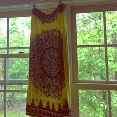 Mosaic Maxi Skirt Yellow and blue detailed mosaic skirt. Great condition! Skirts Maxi