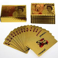 Gold Foil  Art Poker Plated Playing Cards GBP Pound 5 sets lot wholesale
