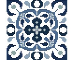 Traditional Delft style cross stitch tile by crossstitchtheline