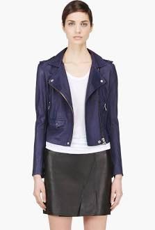 Washed Leather Minimalist Ashville Jacket -would love a navy leather jacket!