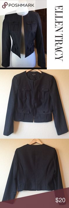"Ellen Tracy Charcoal Blazer Ellen Tracy Charcoal Blazer Like new condition!! This Blazer is so cute! Can be dressed up or down, hook and eye front closure. Polly/rayon/spandex blend. Bust measures 17"", length is 21"" Ellen Tracy Jackets & Coats Blazers"