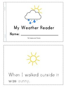 Use this emergent reader to practice sight words, reading skills, and writing. It covers different forms of weather: wind, rain, snow, thunder, clouds, sun. ...