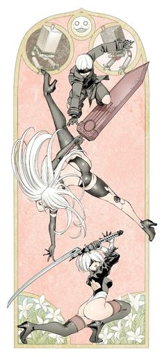 Pixiv   古味慎也 Character Concept, Character Art, Concept Art, Character Design, Nier Automata A2, Jagodibuja Comics, Fanart, Kawaii Anime, Game Art
