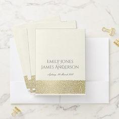 GLAMOROUS GOLD WHITE MOSAIC DOTS PERSONALISED POCKET FOLDER - elegant gifts gift ideas custom presents