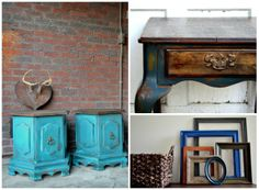 """http://www.etsy.com/shop/BlackSheepMill """"We are a husband and wife team that looks at furniture as a canvas for our artistic expression. We lean on one and another and challenge each other, and this is what comes out in our work. A desire to be different, unique and truly one of a kind."""""""