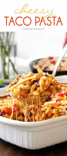 LIGHTER Cheesy Taco Pasta is my husband's absolute favorite pasta! Juicy beef, beans, pasta etc., smothered in an incredible creamy Enchilada-esque sauce out of this world delicious! Your whole family will LOVE this and its super easy! Taco Pasta Casserole Recipe, Taco Pasta Bake, Taco Pasta Recipes, Macaroni And Cheese Casserole, Mexican Food Recipes, Beef Recipes, Cooking Recipes, Tortellini Bake, Taco Mac And Cheese