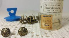 Vintage Upholstery Tacks Ornate Antique Brass by DeeSweetNostalgia