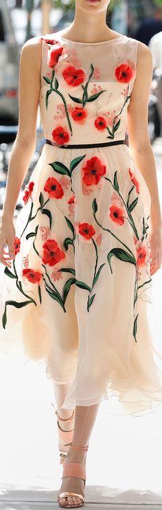 Lela Rose Floral Applique Midi Dress in Blush