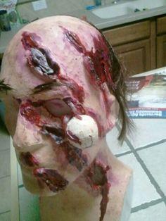 Maul victim mask, bear attack.