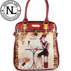 Nicole Lee Gitana Vintage Illustration Art Coffee Print Pad Lock Handbag Purse Hollywood Celebrity Adjustable Shoulder Strap Satchel Handbag in Wine Burgundy Leopard and Snake,