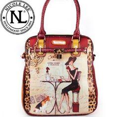 Amazon.com: Nicole Lee Gitana Vintage Illustration Art Coffee Print Pad  Lock Handbag Purse