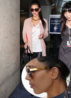 Kim wearing KW initial earrings...i want these w/ my boyfriend's initials