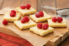 Put a luscious lemon glaze on these Double-Lemon Cheesecake Bars for a finishing touch. You're sure to love the tangy-sweet taste of our delicious Double-Lemon Cheesecake Bars. Mini Chocolate Cheesecake, Lemon Cheesecake Bars, Cheesecake Squares, Cheesecake Toppings, Classic Cheesecake, Easy Cheesecake Recipes, Pumpkin Cheesecake, Dessert Recipes, Cheesecake Bites