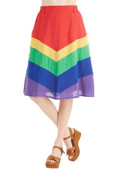 Day Laughter Day Skirt by Bea & Dot - Long, Spring, Multi, Chevron, Pockets, Casual, Vintage Inspired, 70s, A-line, Summer