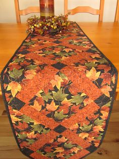 Rustic Leaves Autumn Table Runner Quilted by PatchworkMountain