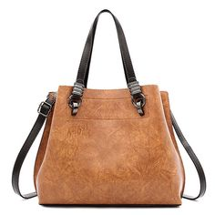 c065691bc9f9 Women PU Leather Large Tote Bag Retro Crossbody Bag is designer