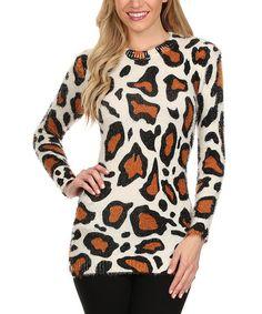 White & Brown Giraffe Sweater #zulily #zulilyfinds