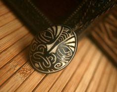 Tagua Nut Carving Necklace- Maori Face Tattoo
