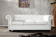 Chesterfield Sofa 3 Osobowa Biała Skóra Ekologiczna - SO37WE/AH1-1