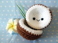 Pinning in case I ever need a crocheted coconut with a face . LOL