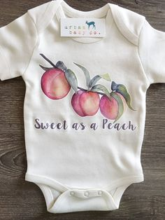 Sweet as a Peach, Baby, Boy, Girl, Unisex, Gender Neutral, Infant, Toddler, Newborn, Organic, Bodysuit, Outfit, One Piece, Onesie®, Onsie®, Tee, Layette, Onezie® #unisexbabyclothes #babystuffnewborn