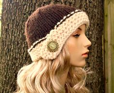 Knit Hat Womens Hat - Cloche Hat in Wood Brown and Cream Knit Hat - Winter Accessories Womens Accessories by pixiebell on Etsy https://www.etsy.com/listing/57178701/knit-hat-womens-hat-cloche-hat-in-wood