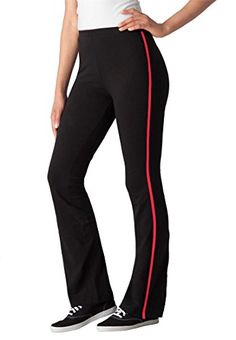 b8fb4c2727b Womens Plus Size Stretch Bootcut Yoga Pants With Side Stripes Black Hot  Red1X Tall Yoga Pants