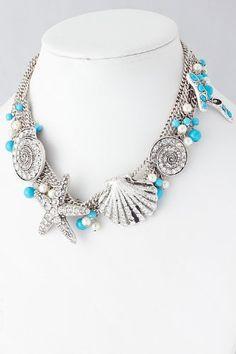 Fashion Jewelry - SEASHELL CHAIN NECKLACE- By Fashion Destination | Free Shipping (Silver) Fashion Destination,http://www.amazon.com/dp/B00DEYIGHS/ref=cm_sw_r_pi_dp_W8G3rb1B48G9T75B
