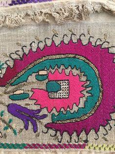 Antique Ottoman-Turkish Silk & Gold Metallic Hand Embroidery On Linen N5 4