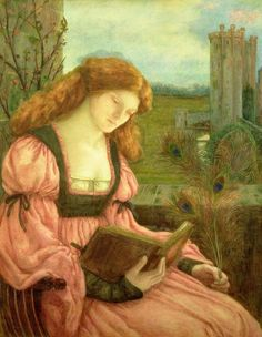 ST. BARBARA by Marie SPARTALLI STILLMAN (Artist. England, 1844-1927). Pre-Raphaelite.  About the artist:   http://en.wikipedia.org/wiki/Marie_Spartali_Stillman Lovely woman reading book outdoors. © Bridgeman Art Library / Private Collection / Photo © The Maas Gallery, London.