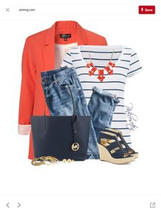 Stitch Fix Fashion Striped tee, coral blazer, boyfriend jeans and wedges. Perfect with Michael Kors purse. Look Fashion, Fashion Outfits, Womens Fashion, Dress Fashion, Fashion 2018, Teen Fashion, Fashion Brand, Fall Fashion, Polyvore Outfits