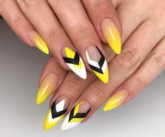 yellow nail design will be among the modest looks of nail designs. What makes the yellow nail art designs interesting is due to the many fun designs that you're able to create with them. The plan of your nails is dependent on you. Yellow Nails Design, Yellow Nail Art, Gel Nails, Acrylic Nails, Polish Nails, Stiletto Nails, Gel Nagel Design, Geometric Nail Art, Nagellack Trends