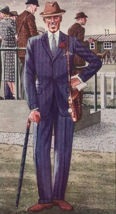Gentleman in a navy suit and brown hat, carrying a bag, a wallet and an umbrella.