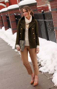 Penny Pincher Fashion: Classic winter outfit... This outfit would be perfect for a day at the office, church or brunch with friends.  You could also swap out the trousers & pumps with skinny jeans & boots for a more casual day look.