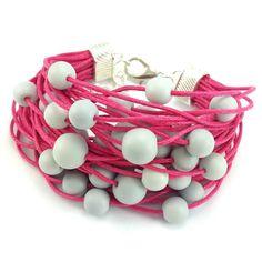 Bransoletka sznurek sznurkowa fuksja szara matowe koraliki Lens, Bracelets, Jewelry, Jewlery, Jewerly, Schmuck, Klance, Jewels, Jewelery