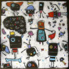 Les bras en l'air 36x36 pouces Les Affreux www,creationlesaffreux.com Monster Co, Ecole Art, Pop Art, Fun, Inspiration, Monsters, Arts Plastiques, Visual Arts, Toys