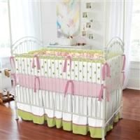 Carousel Designs Lime and Pink Paisley Three-piece Crib Bedding Set