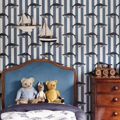 """407 Likes, 4 Comments - H O U S E  O F  H A C K N E Y (@houseofhackney) on Instagram: """"Contemporary children's wallpaper: B A L E A N A 🐋. Explore Little House of Hackney with the link…"""""""
