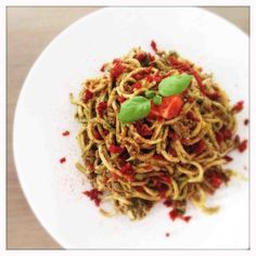 Zucchini Pasta with Sundried Tomato Pesto |  No Flour