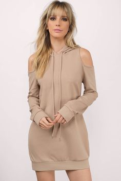 """Search """"Nicki Taupe Sweatshirt Dress"""" on Tobi.com! cold shoulder cutout sweatshirt oversized hoodie longline camel tan #ShopTobi #fashion shop buy cheap inexpensive ideas chic fashion style fashionable stylish comfy simple chic essential capsule Basic outfit simple easy trendy ideas for women teens cute college fall winter summer spring outfit outfits comfortable shorts work school classy everyday business california LA"""